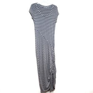 Athleta | Striped Gray Side Ruched Maxi Dress
